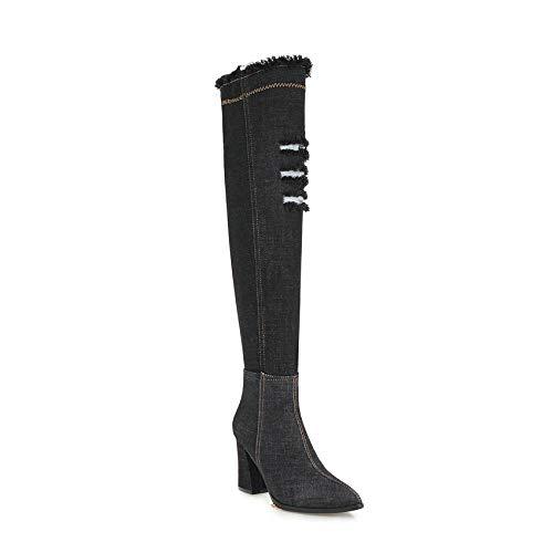 HAOLIEQUAN Les Femmes De De Plus De Femmes Mode Denim Bottes Femmes Chaussures Femmes Chaussures Hiver Plate-Forme Bottes Grande Taille 34-43 43|Black 3fbcf0