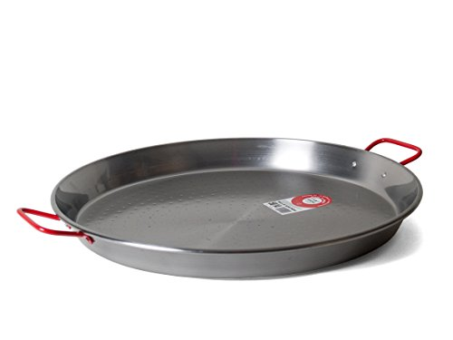 Garcima C-20RED 20-Inch Carbon Steel Paella Pan, 50 cm, Large, Silver