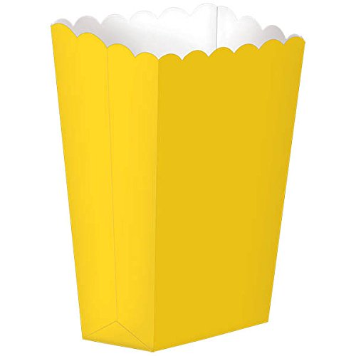 Fun Party Small Popcorn Favour Boxes, 5 Pieces, Made from paper, Yellow Sunshine, 5 1/4