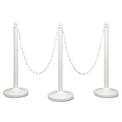 Stanchions & chain sold and shipped separately. - TATCO * Crowd Control Stanchion Chain, Plastic, 40ft, White