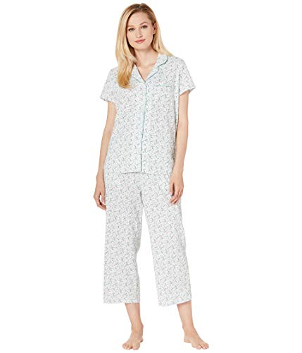 Karen Neuburger Women's Short-Sleeve Floral Girlfriend Crop Pajama Set, Butterfly Black/White, Small -