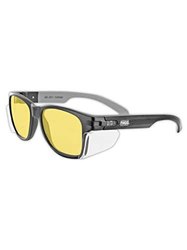 MAGID Y50BKAFA Iconic Y50 Design Series Safety Glasses with Side Shields | ANSI Z87+ Performance, Scratch & Fog Resistant, Reduce Eye Strain & Fatigue, Cloth Case Included, Amber Lens (1 Pair)