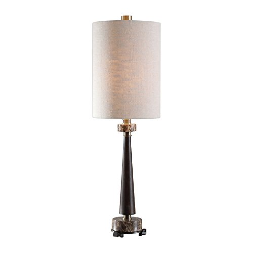 My Swanky Home Elegant Classic Wood Marble Table Lamp | Buffet Black Brown Gold Mid Century