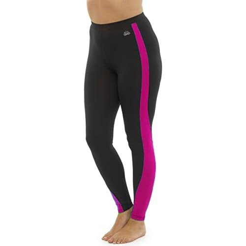 31JBMZMiE L. SS500  - Tom Franks Ladies Two Tone Sport Fitness Yoga Gym Leggings Fashion Sportswear - Black-Pink - 12-14