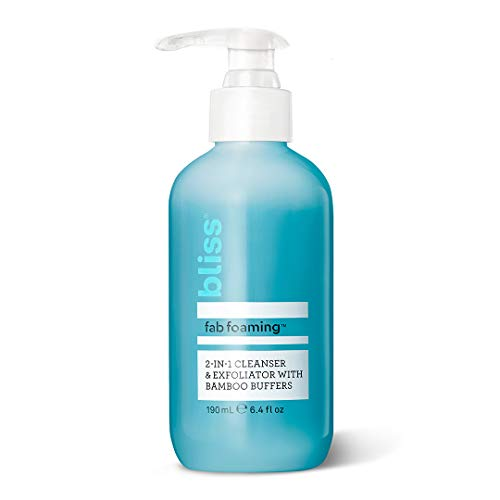 Bliss Fab Foaming 2-In-1 Cleanser & Exfoliator with Bamboo Buffers | Oil-Free Gel | Paraben Free, Cruelty Free | 6.4 fl oz from bliss