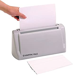 martin yale desktop letter folder hand fed machine folds 1 to 3 sheets