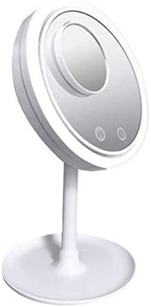 YXZQメイクアップミラー、ポータブルミニポケットミラー、ファン付き汗のない5X拡大鏡化粧鏡LEDタッチスクリーンスタンドアップミラー(色:白)