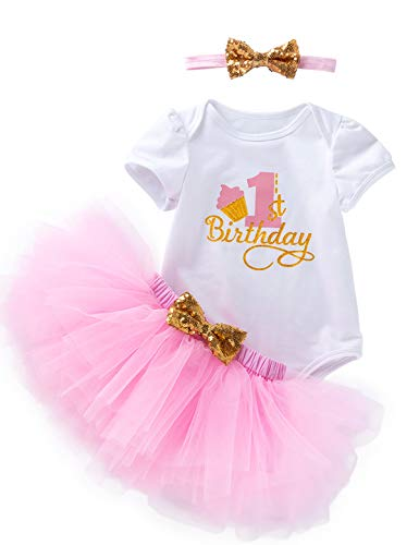 3Pcs Outfit Set Baby Girls One Year Old Birthday Lace Tutu Bodysuit Skirt with Headband (Pink02, 12-18 Months) -