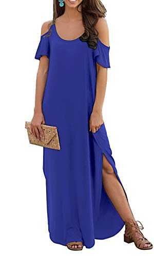 (GRECERELLE Women's Summer Casual Loose Long Dress Strapless Strap Cold Shoulder Short Sleeve Split Maxi Dresses with Pocket Royal Blue-S)