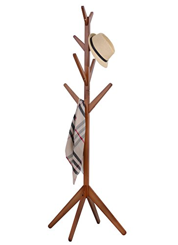 Solid Wood Coat Rack, Entryway Standing Hat Jacket Coat Hanger Rack,Teak-Colors Hall Tree (Teak-color)