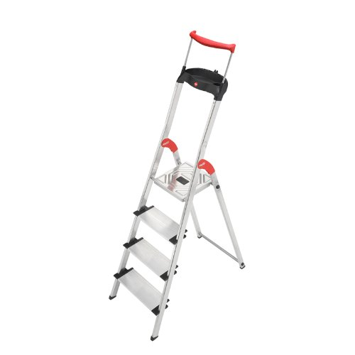 Hailo 9204010020 8854-001 4Step Folding Lightweight Aluminum Step Ladder, with with Worktray, Silver