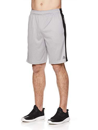 Reebok Men's Drawstring Shorts - Athletic Running & Workout Short w/Pockets - Dadson Sleet Heather, Small