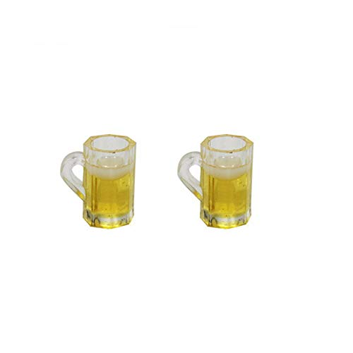 Xeminor Mini Mugs Dollhouse Mugs Miniature Cups Mini Beer Cup Dollhouse Accessories Small Size and Chic 1:12 Size 2 Pcs