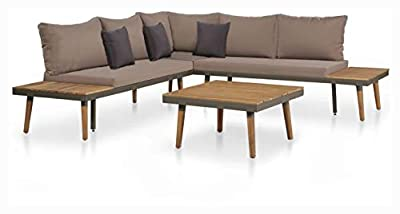 K&A Company Outdoor Furniture Set, 4 Piece Garden Lounge Set with Cushions Solid Acacia Wood Brown