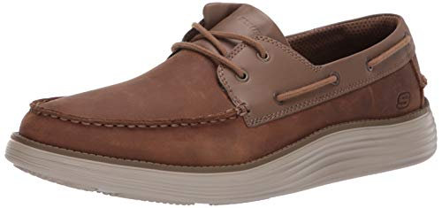 Skechers Men's Status 2.0- Former Moc Toe Leather Lace Up Shoe, DSCH, 9.5 M US