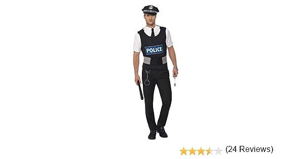 Smiffys-38833L Kit instantáneo de policía, con Chaleco, Camisa ...