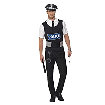 Smiffys Men's Policeman Instant Kit, Vest, Mock Shirt, Hat and Handcuffs