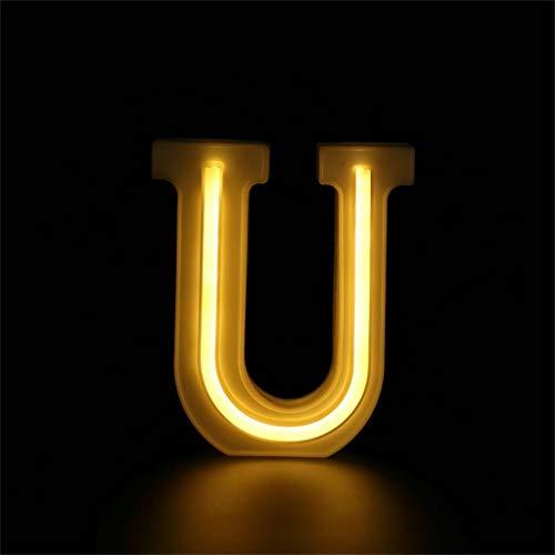 Coedfa Led Lamp USB Light Standing Lights Decoration Light Led Light Led USB Letter Lights Light Up White Plastic Letters Standing Hanging A-Z & (White U)