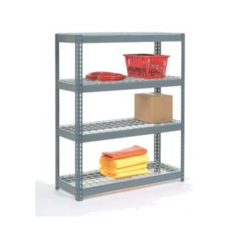Nexel Industries RLX348W 24 x 36 x 96 in. 5 Shelf Wire Deck Rivet Lock Shelving Unit (Shelving Rivet Decks)