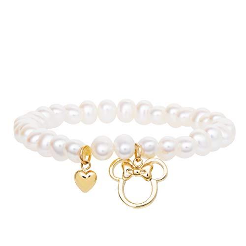 Disney Minnie Mouse 10kt Yellow Gold Minnie Charm Pearl Stretch Bracelet Mickey