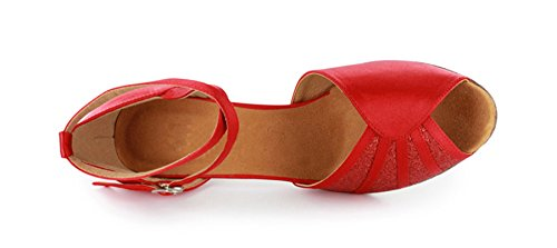 Shoes Salsa Dance Red Collection UK Latin Women's 601801 7 M Tango Heel Ballroom MINITOO Low PA0wSq