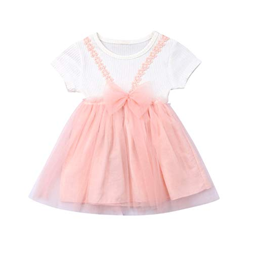 Cute Baby Dress Summer Lace Tulle Sundress Short Sleeve Princess Costume Baby Girl Dresses Party and Wedding Newborn Dress As Photo shows1 12M -