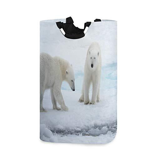 Two Young Wild Polar Bears Playing On Pack Ice Laundry Hamper Basket Bucket Arctic Sea Foldable Dirty Clothes Bag Washing Bin Toy Storage Organizer for College Dorms, Kids Bedroom,Bathroom