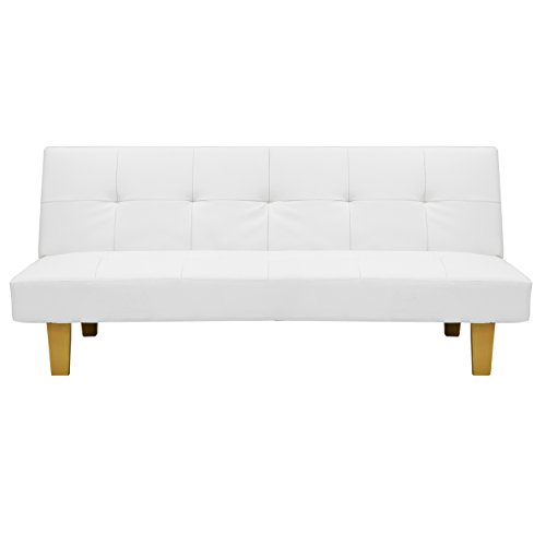 Best Choice Products PU Leather Convertible Futon Sofa Bed (White)