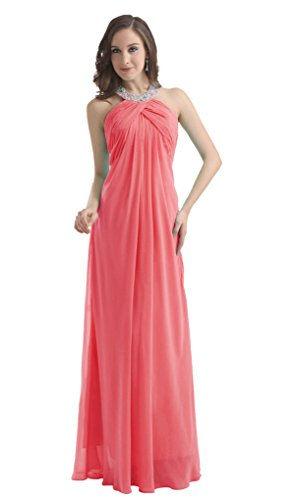 Diyouth Long Chiffon Prom Bridesmaid Dresses Beaded Halter Backless Evening Gowns Coral Size 20