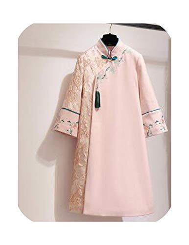 Improvement Woollen Long Robe Cheongsam Lady Gown Retro Improved Elegant Cheongsam,Pink,M