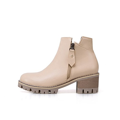 BalaMasa Womens Platform Slip-Resistant Retro Urethane Boots ABL10105 Beige pqckhT4f