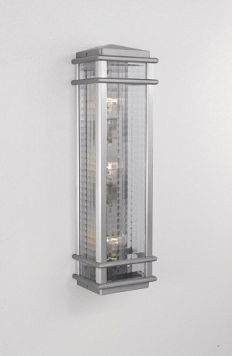 (Three Light Brushed Aluminum Clear Checked Glass Wall Lantern OL3404BRAL )
