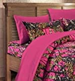 20 Lakes Microfiber 6 Piece Powder Blue Camo Rustic Bed Sheet Set & Pillowcases (Bright Pink)