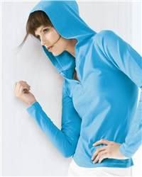 Bella Ladies' Cotton/Spandex 1/2 Zip Hooded Pullover 875