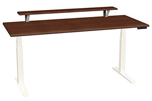 SmartMoves by Howard Miller Dual Motor Electric Adjustable Height Desk with Beveled Desktop and Classic Elevated Shelf (Medium Cherry Desktop/Crystal White Base, 72 in - Howard Cherry Desk