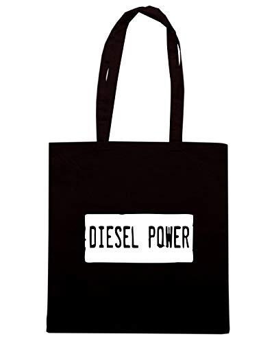 Speed Shirt Borsa Shopper Nera WES0037 DIESL POWER FUNNY LICENSE PLATE