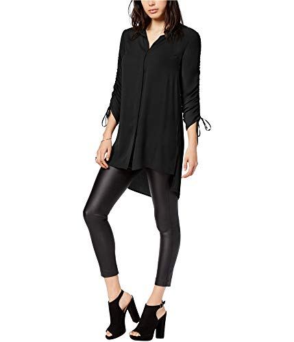 Bar III Womens Ruched Tunic Blouse, Black, Large from Bar III