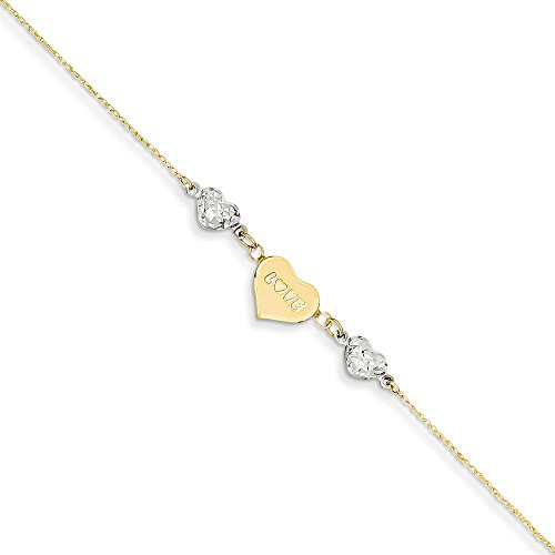 14K Two-tone Diamond Cut Puffed Heart LOVE w/ 1in Ext Anklet by Saris and Things