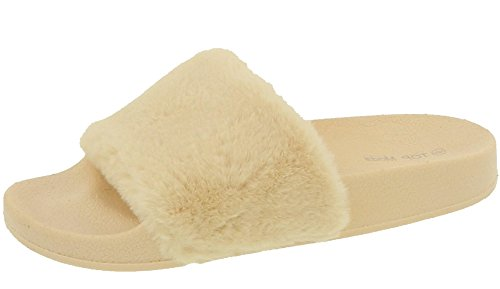 fd760ea2927 Top Moda Pillow-1 Women s Faux Marabou Fur Slide Flip Flop Sandal ...