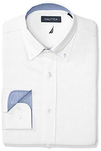 Nautica Men's Classic Fit Button Down Collar Oxford Dress Shirt, White, 16 32/33