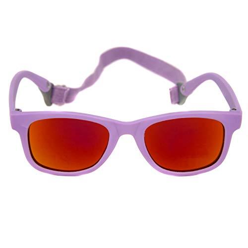 Baby Solo Babyfarer Baby Sunglasses Safe, Soft, Adjustable and Adorable 0-24 Months (0-24 months, Matte Violet Frame w/Orange Mirror ()