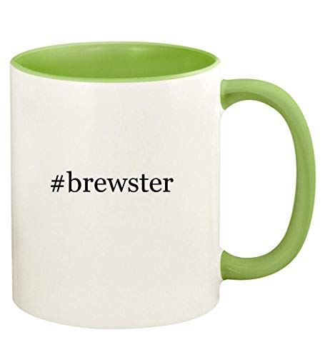 #brewster - 11oz Hashtag Ceramic Colored Handle and Inside Coffee Mug Cup, Light Green
