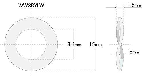 (75pcs) M8, 8mm Metric Wave Spring Steel Washer - DIN 137B, 15mm Outer Diameter Shiny Yellow Zinc by BelMetric WW8BYLW by BelMetric (Image #1)