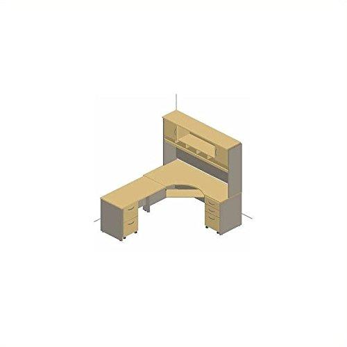 Bush Furniture Hansen Cherry Corsa Series L-Shape Desk with Hutch