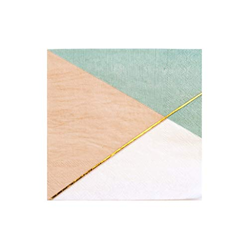 Colorblock with Gold Trim Cocktail Paper Napkins - Birthday, Wedding, Showers Party Napkins - Harlow & Grey Desert Rose (60 Count)
