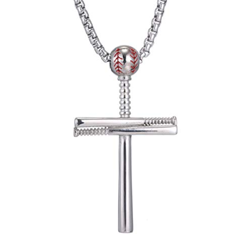 Cross Necklace by Pendant Sports Stainless Steel Baseball and Baseball Bat Cross Necklace Athletes Boys Gift,Silver