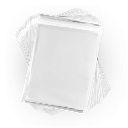 - 10 x 13 Inch Crystal Clear Cello Sleeves (100 Pack) - Resealable Cellophane Envelope w/Self Adhesive Flap - Plastic Bags for Greeting Cards, Photos, Letters, Snacks (1.6 Mil Thick) CELLO10X13CL100