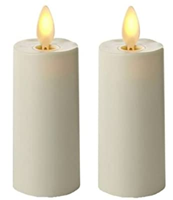 """Luminara 02020 - 1.75"""" x 3"""" Ivory (Unscented) Votive Wavy Edge Realistic Flame LED Plastic Candle Light with Timer 2 Pack Bundle (4 candles)"""
