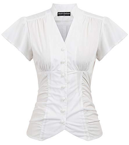 Women's Victorian Blouse Shirt Steampunk Gothic Victorian Tops White 2XL