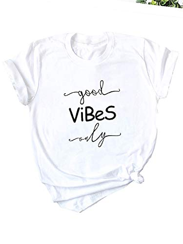 Festnight Women Funny T-Shirt, Good Vibes T Shirts Women Funny Letter Print Short Sleeve Casual Loose Graphic Tee Tops White